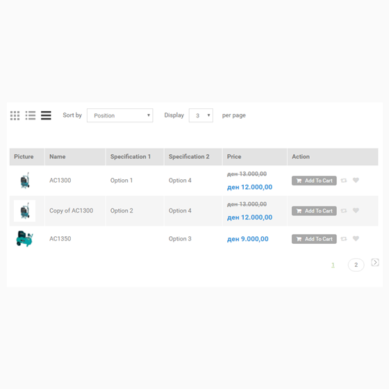 Picture of Category Table View Mode With Specifications for nopCommerce